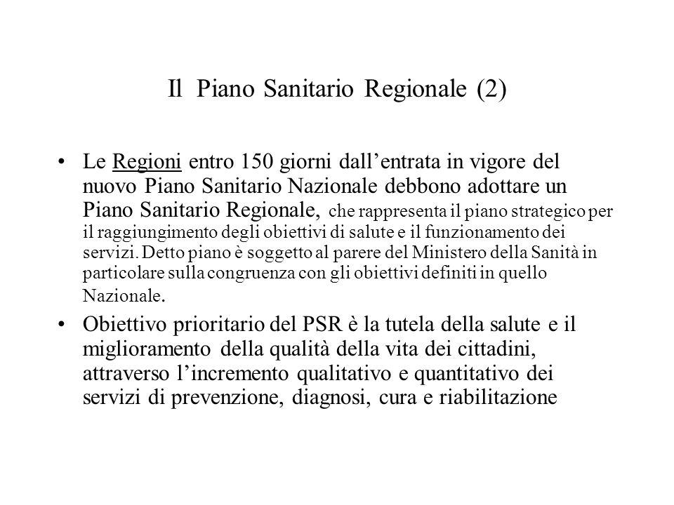 Il Piano Sanitario Regionale (2)