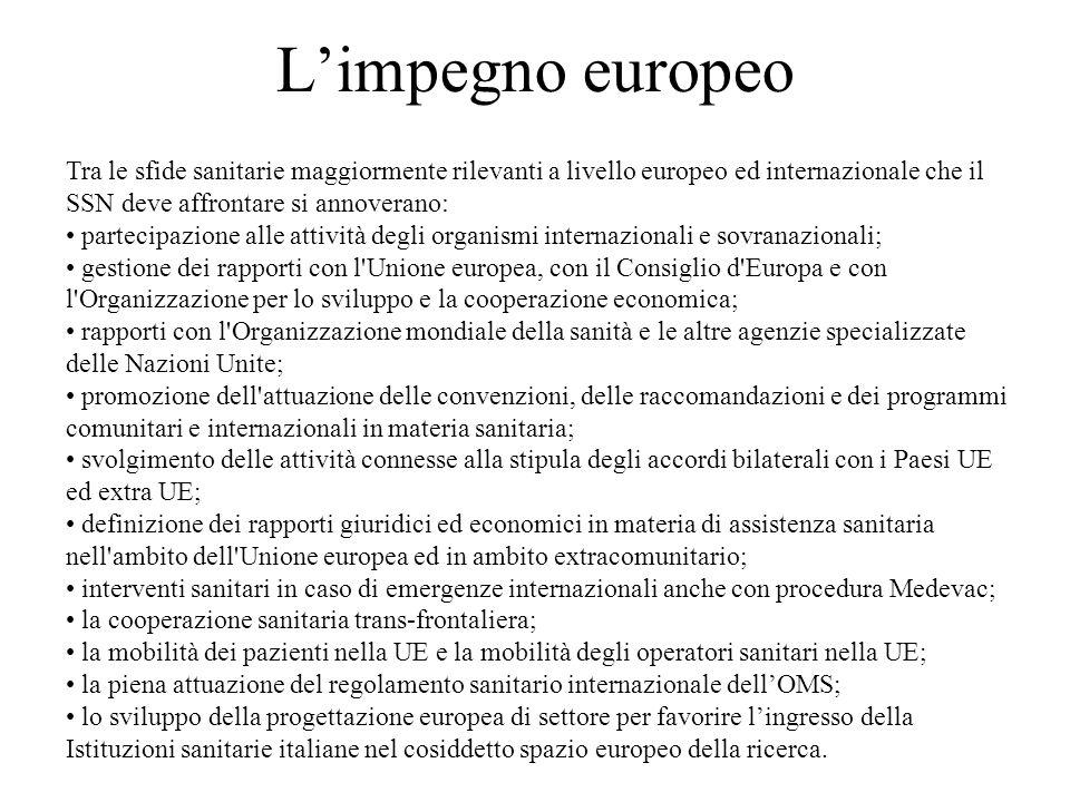 L'impegno europeo Tra le sfide sanitarie maggiormente rilevanti a livello europeo ed internazionale che il SSN deve affrontare si annoverano: