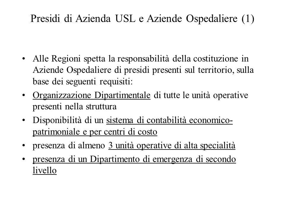 Presidi di Azienda USL e Aziende Ospedaliere (1)