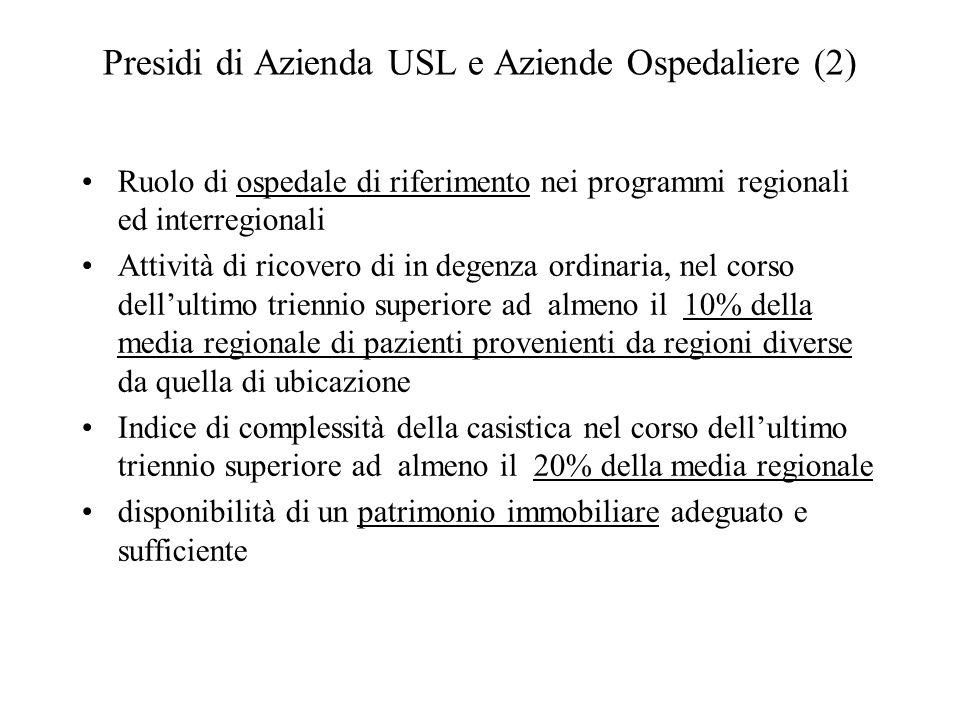 Presidi di Azienda USL e Aziende Ospedaliere (2)