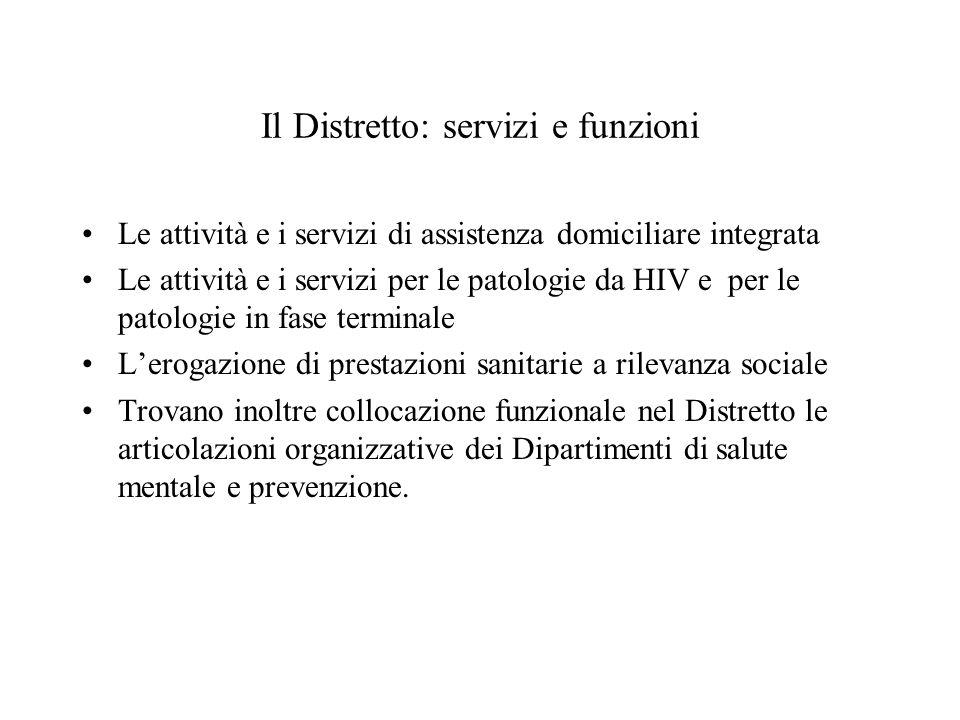 Il Distretto: servizi e funzioni