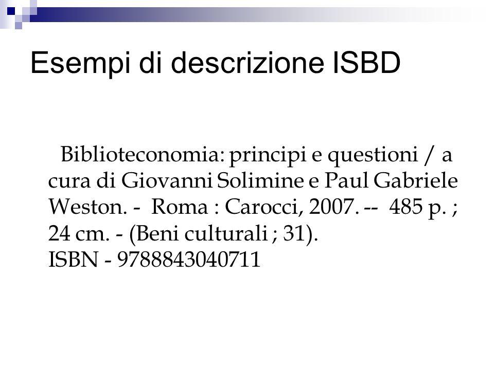 Esempi di descrizione ISBD