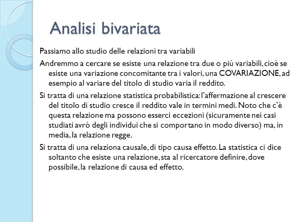 Analisi bivariata Passiamo allo studio delle relazioni tra variabili