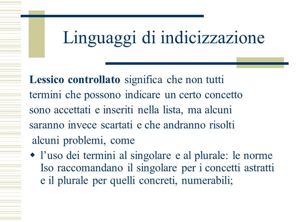 Linguaggi di indicizzazione