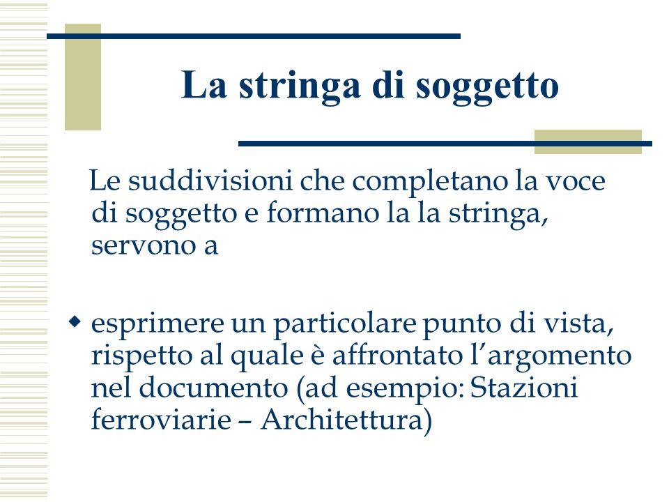 La stringa di soggetto Le suddivisioni che completano la voce di soggetto e formano la la stringa, servono a.