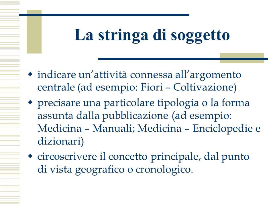 La stringa di soggetto indicare un'attività connessa all'argomento centrale (ad esempio: Fiori – Coltivazione)
