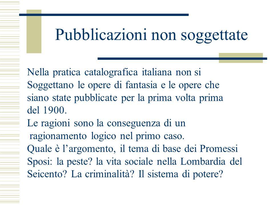 Pubblicazioni non soggettate