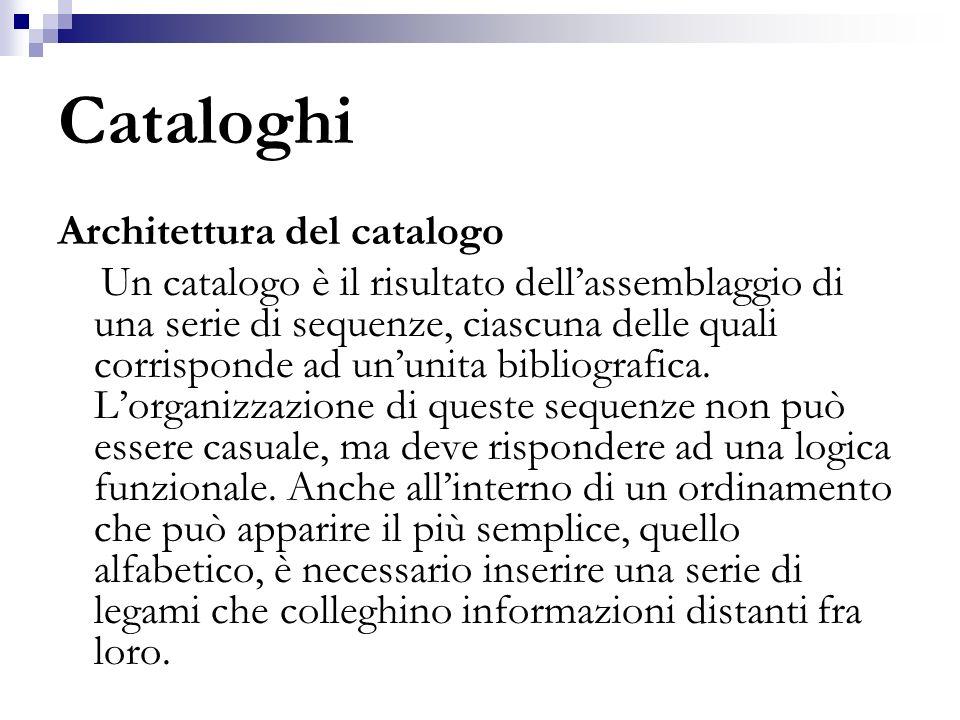 Cataloghi Architettura del catalogo