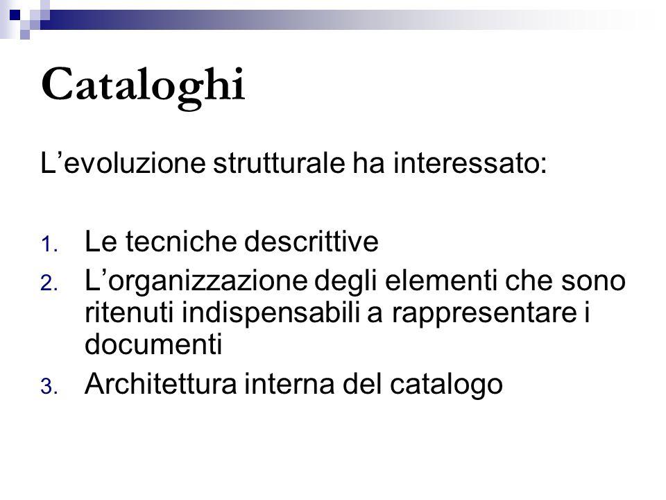 Cataloghi L'evoluzione strutturale ha interessato: