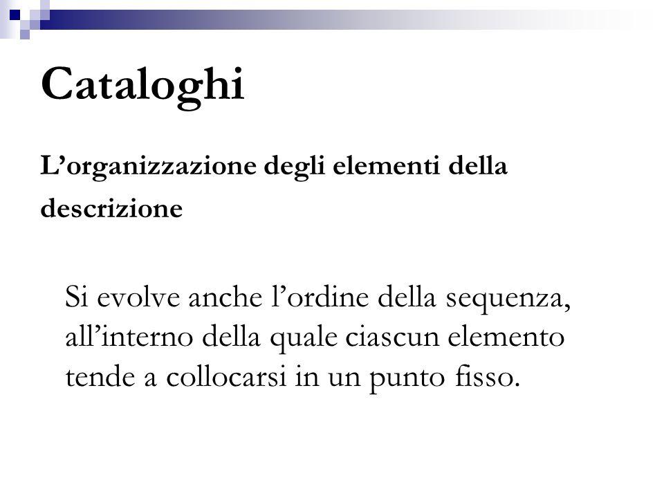 Cataloghi L'organizzazione degli elementi della. descrizione.