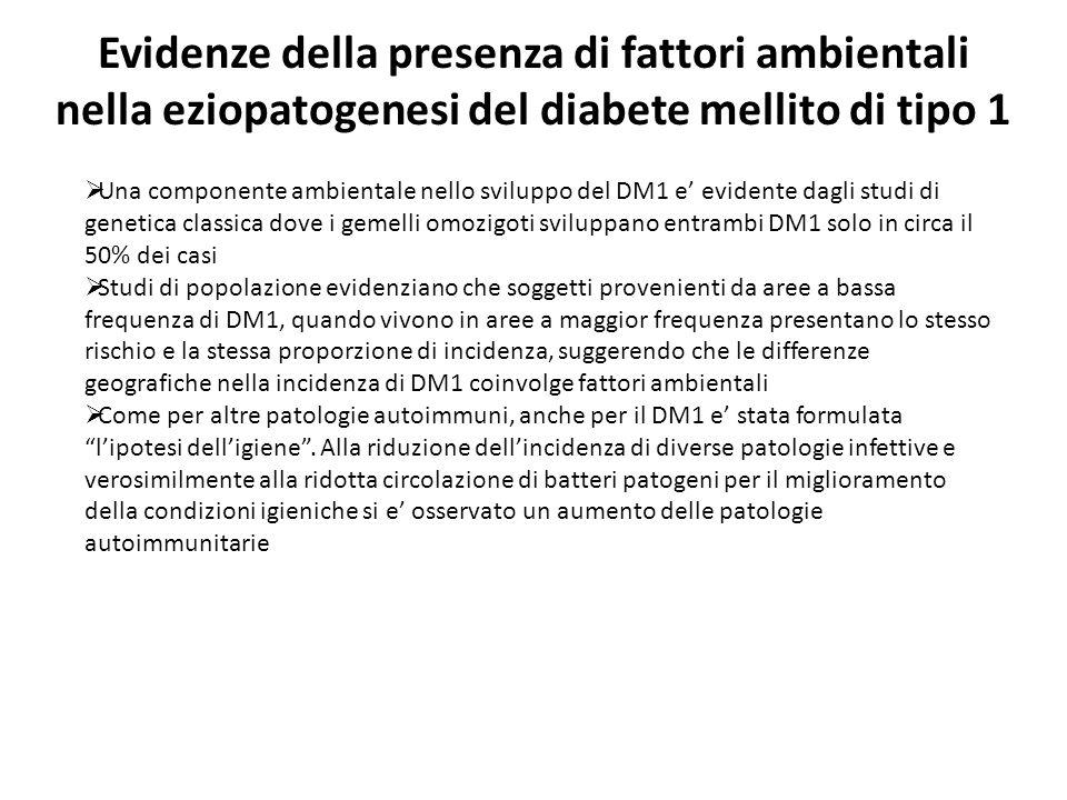 Evidenze della presenza di fattori ambientali nella eziopatogenesi del diabete mellito di tipo 1