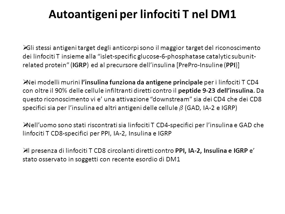 Autoantigeni per linfociti T nel DM1