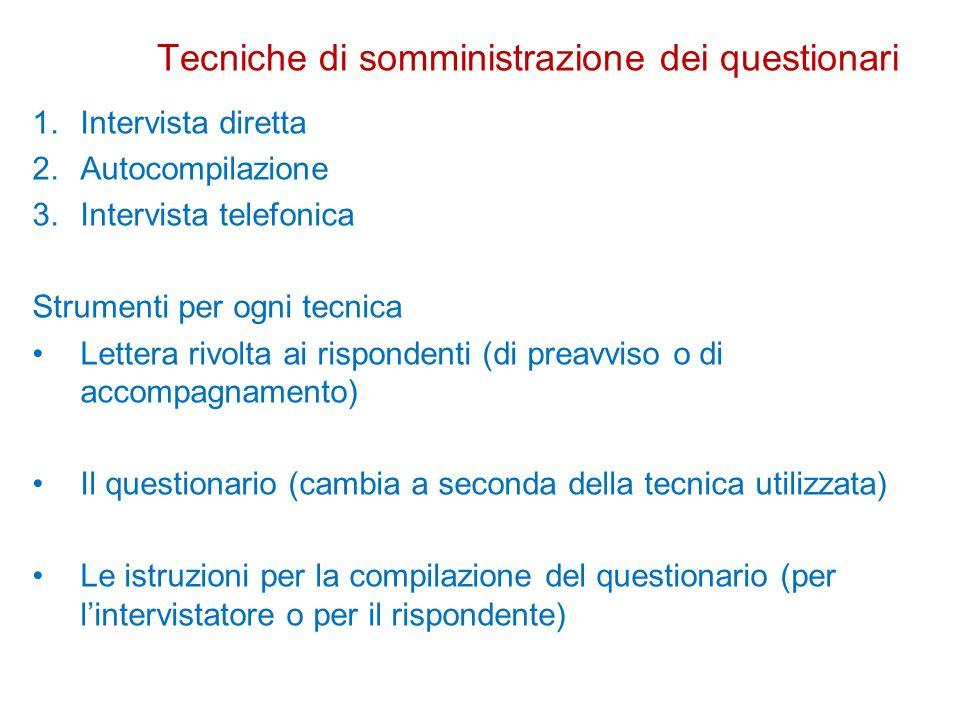 Tecniche di somministrazione dei questionari