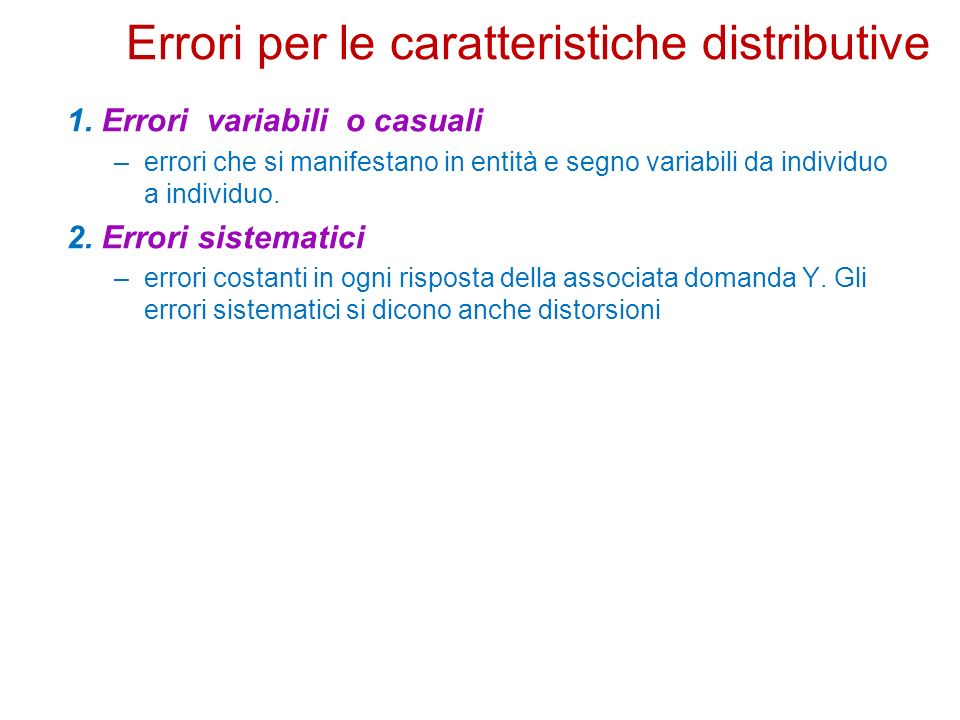 Errori per le caratteristiche distributive