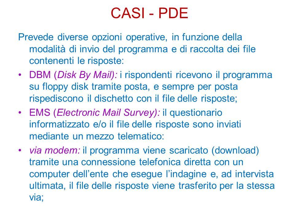 CASI - PDE Prevede diverse opzioni operative, in funzione della modalità di invio del programma e di raccolta dei file contenenti le risposte: