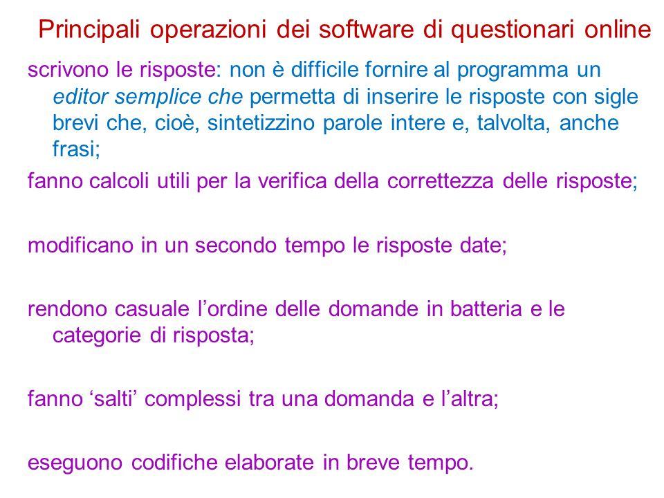 Principali operazioni dei software di questionari online