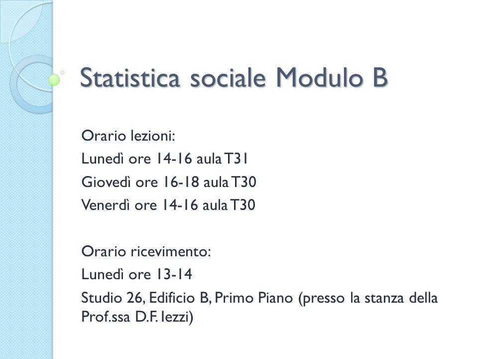 Statistica sociale Modulo B
