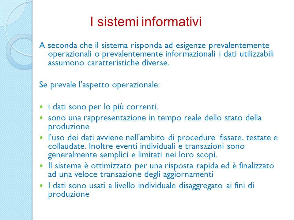 I sistemi informativi