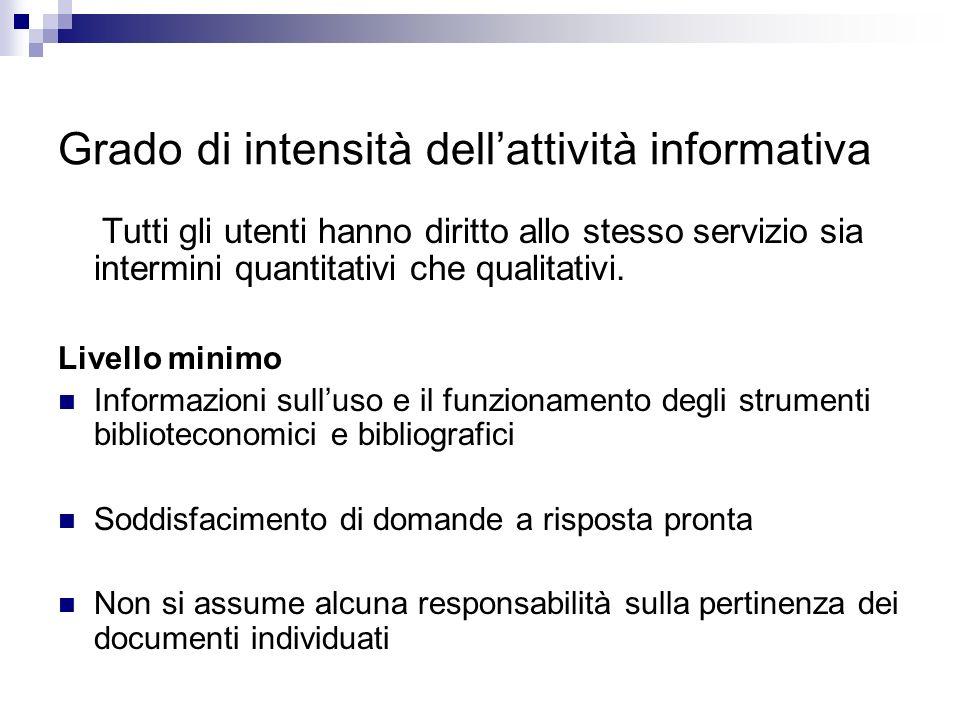 Grado di intensità dell'attività informativa