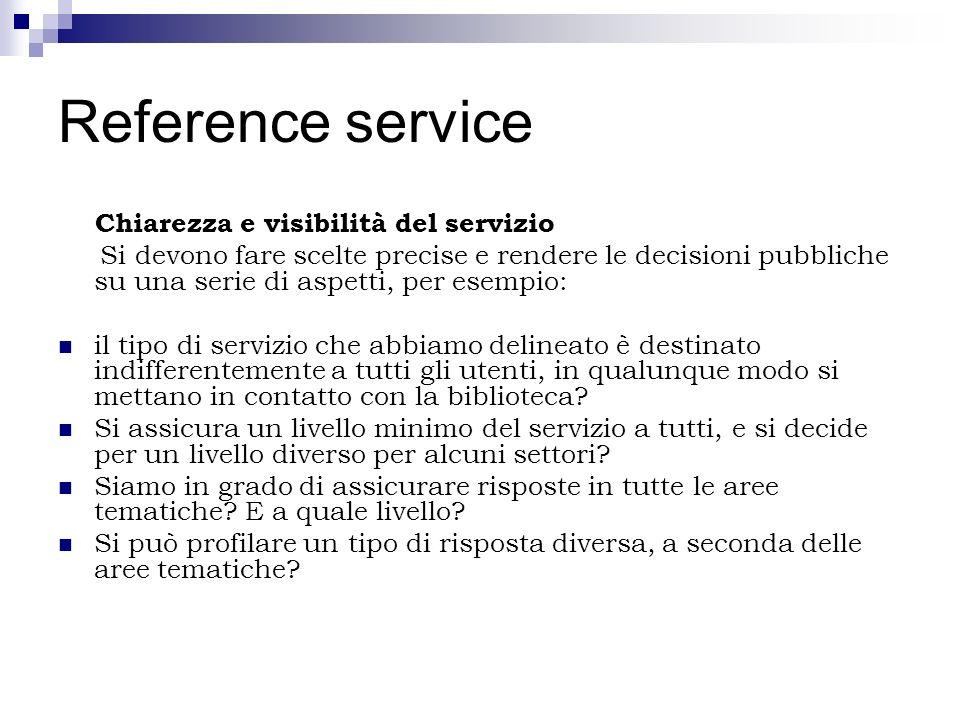 Reference service Chiarezza e visibilità del servizio