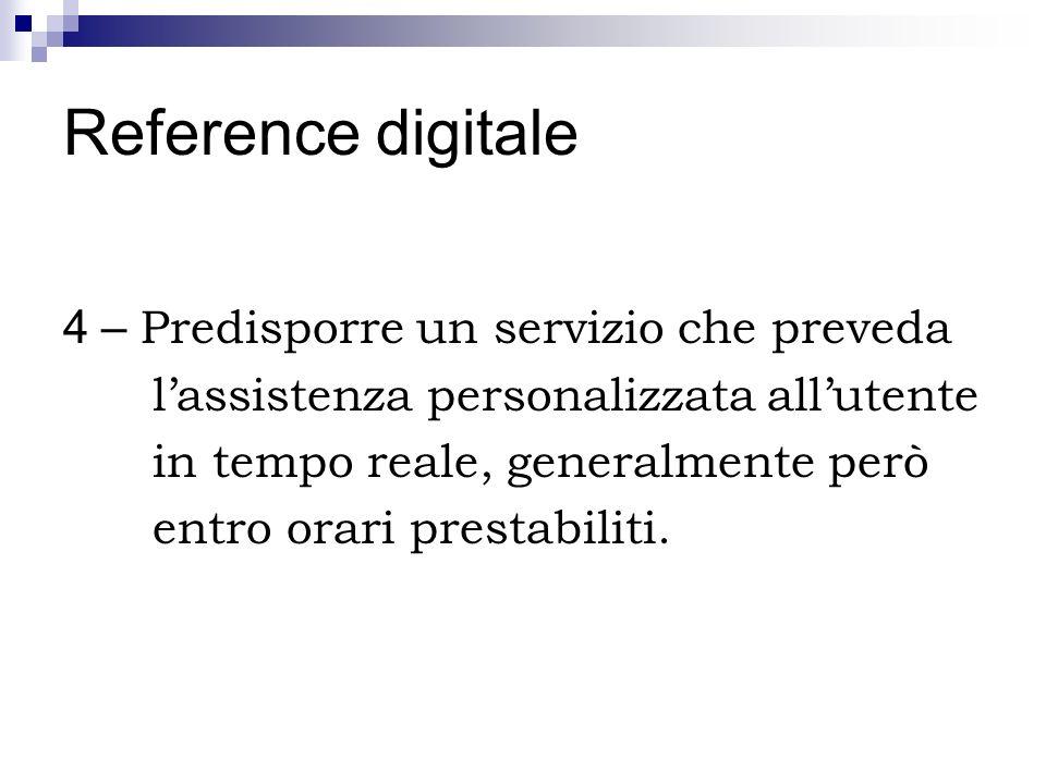 Reference digitale 4 – Predisporre un servizio che preveda