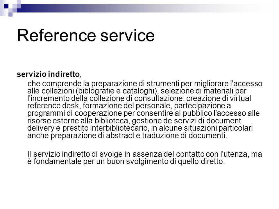Reference service servizio indiretto,