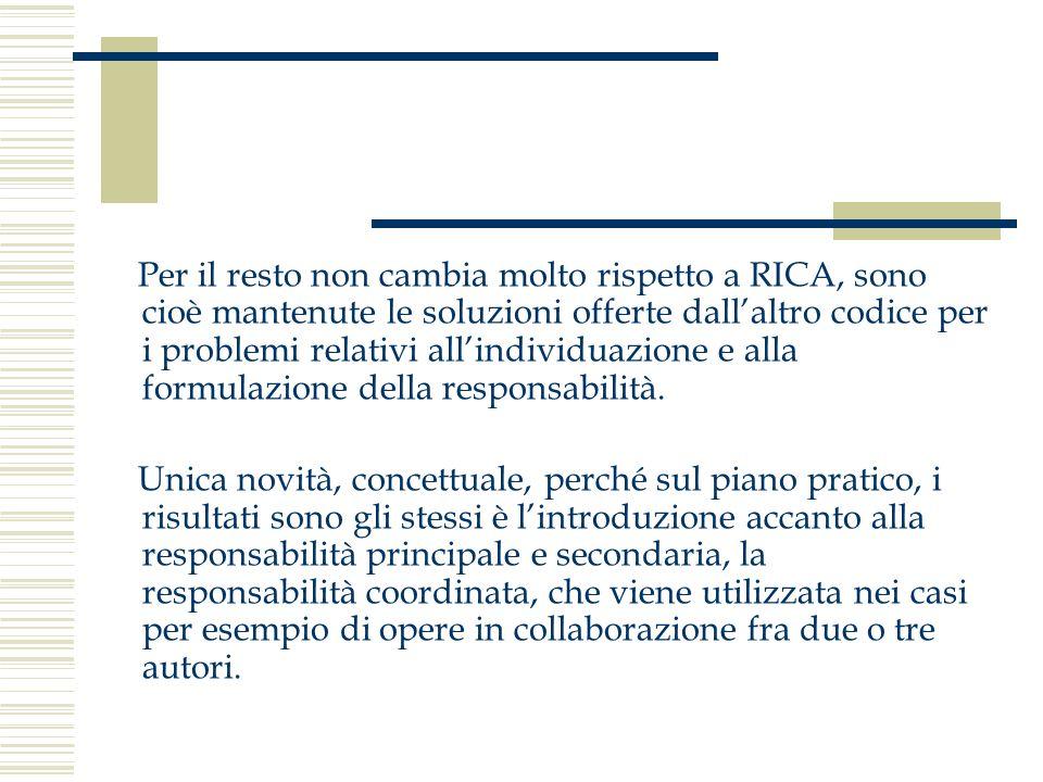 Per il resto non cambia molto rispetto a RICA, sono cioè mantenute le soluzioni offerte dall'altro codice per i problemi relativi all'individuazione e alla formulazione della responsabilità.