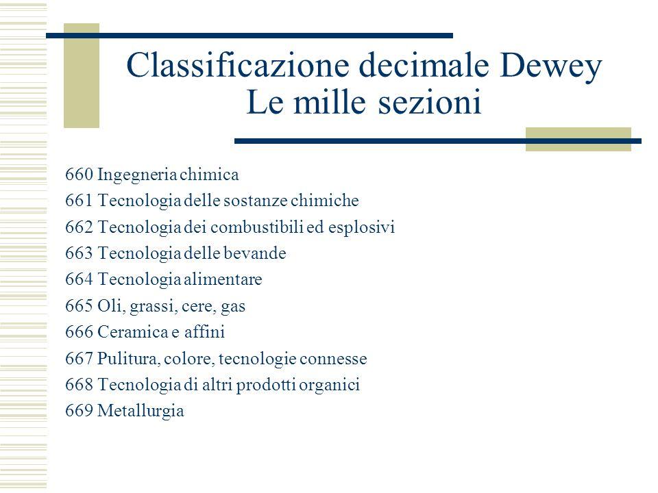 Classificazione decimale Dewey Le mille sezioni