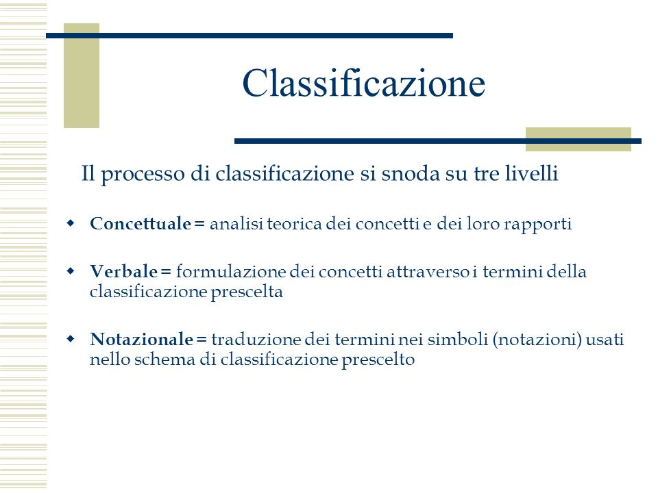 Classificazione Il processo di classificazione si snoda su tre livelli