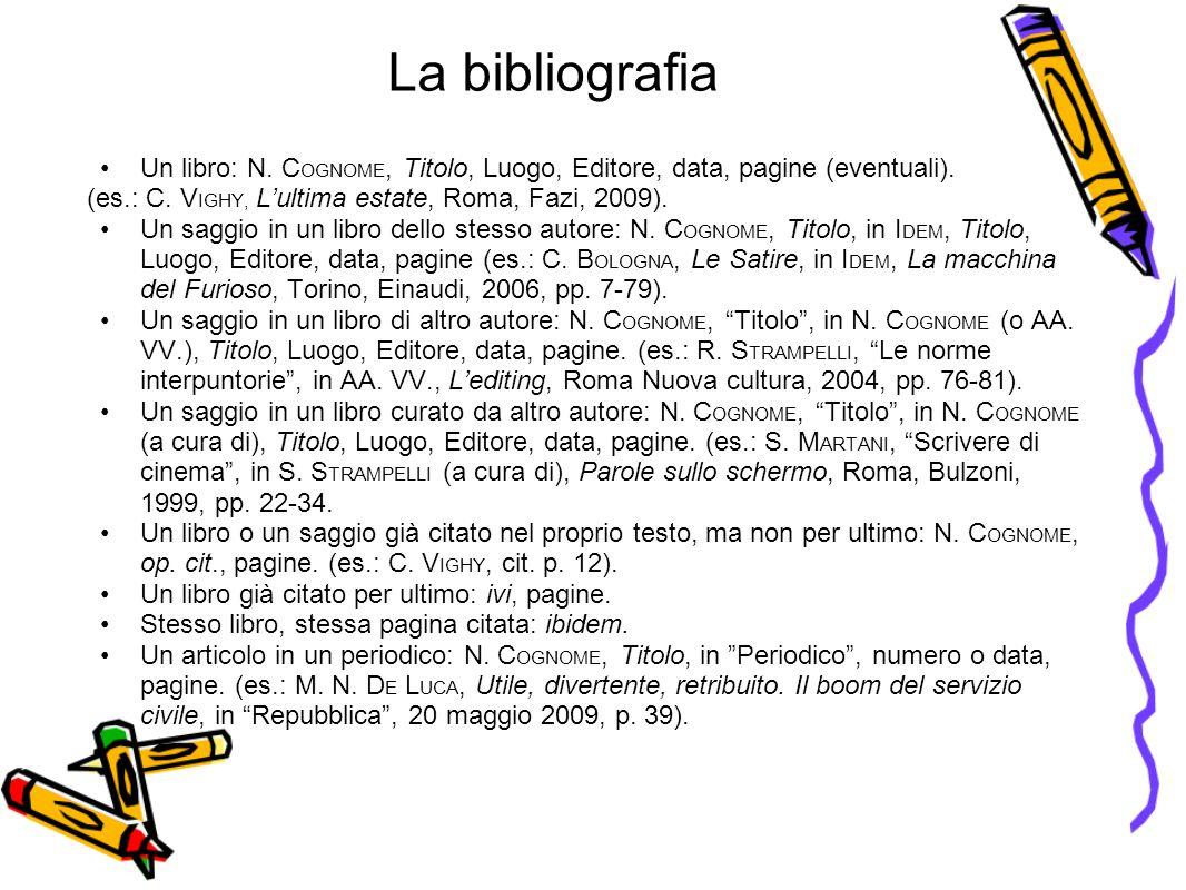 La bibliografia Un libro: N. COGNOME, Titolo, Luogo, Editore, data, pagine (eventuali). (es.: C. VIGHY, L'ultima estate, Roma, Fazi, 2009).