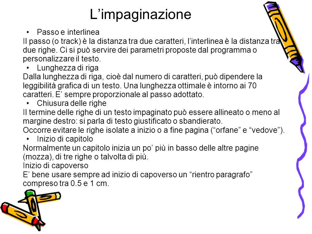 L'impaginazione Passo e interlinea