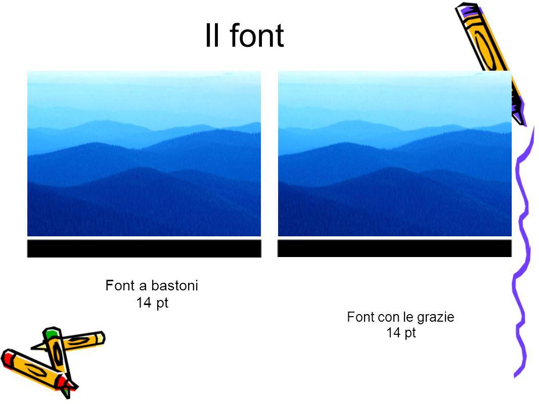 Il font Font a bastoni 14 pt Font con le grazie 14 pt