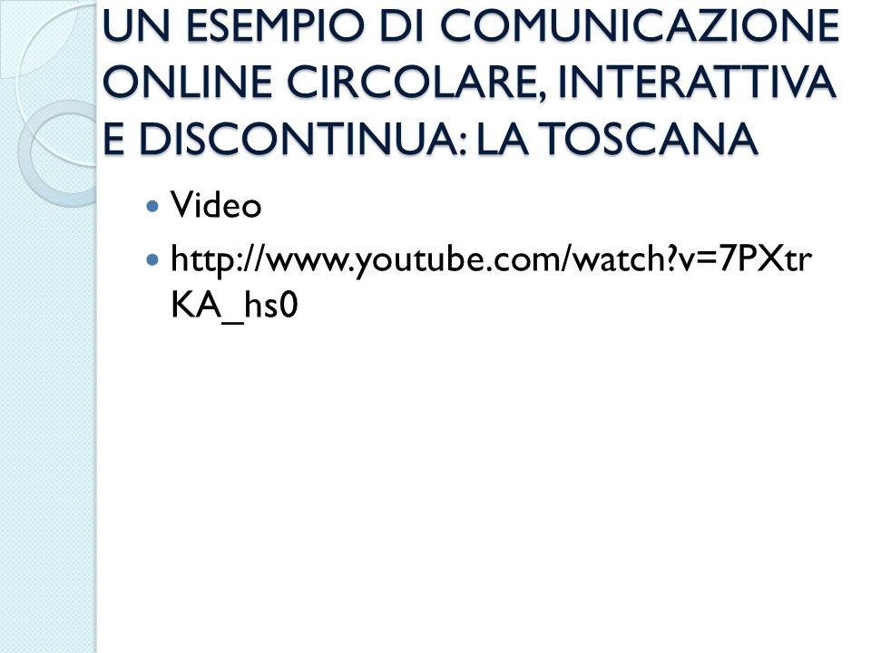 UN ESEMPIO DI COMUNICAZIONE ONLINE CIRCOLARE, INTERATTIVA E DISCONTINUA: LA TOSCANA