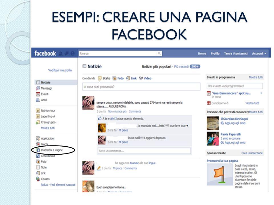 ESEMPI: CREARE UNA PAGINA FACEBOOK