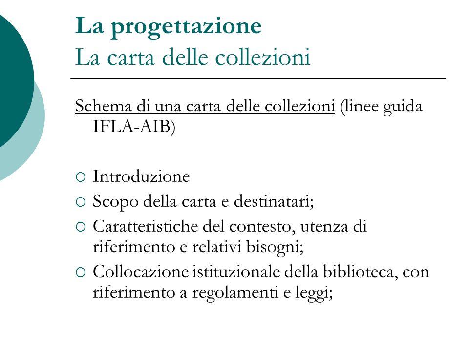 La progettazione La carta delle collezioni