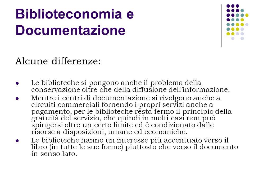 Biblioteconomia e Documentazione