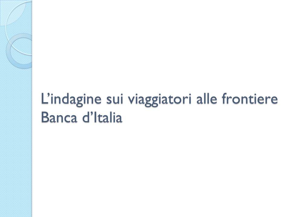L'indagine sui viaggiatori alle frontiere Banca d'Italia