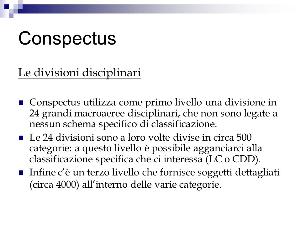Conspectus Le divisioni disciplinari