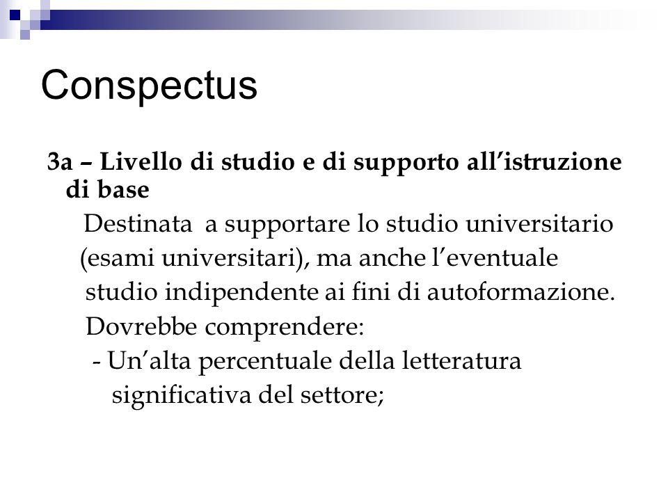 Conspectus 3a – Livello di studio e di supporto all'istruzione di base