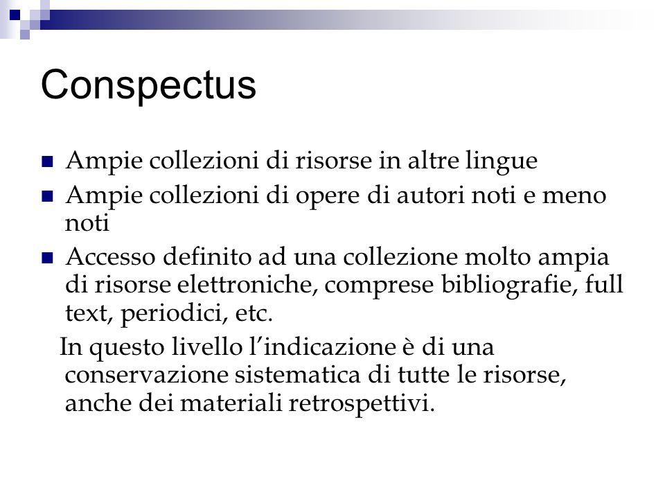 Conspectus Ampie collezioni di risorse in altre lingue