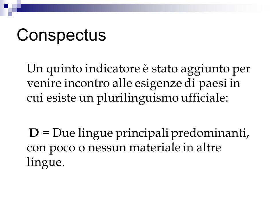 Conspectus Un quinto indicatore è stato aggiunto per venire incontro alle esigenze di paesi in cui esiste un plurilinguismo ufficiale: