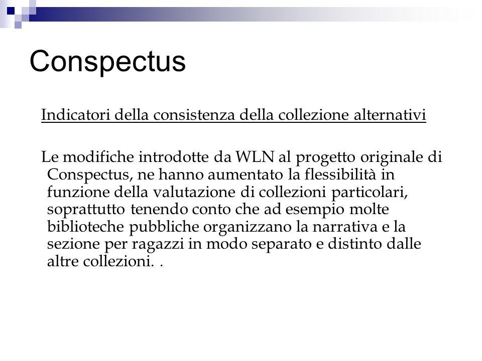 Conspectus Indicatori della consistenza della collezione alternativi