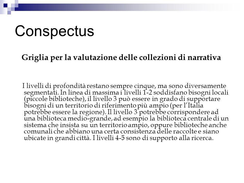 Conspectus Griglia per la valutazione delle collezioni di narrativa