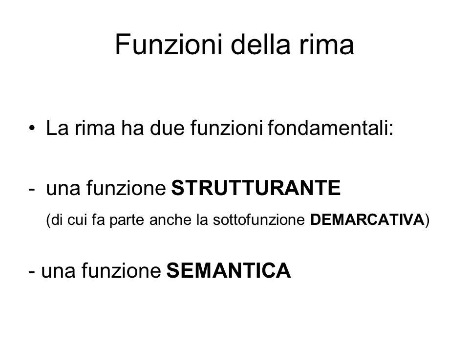 Funzioni della rima La rima ha due funzioni fondamentali: