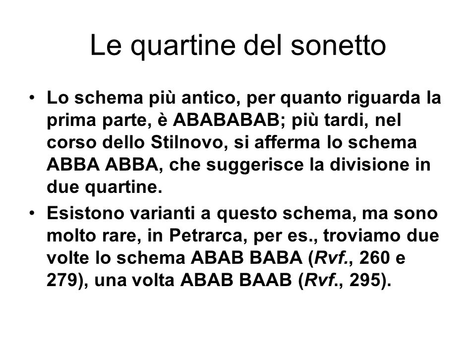 Le quartine del sonetto