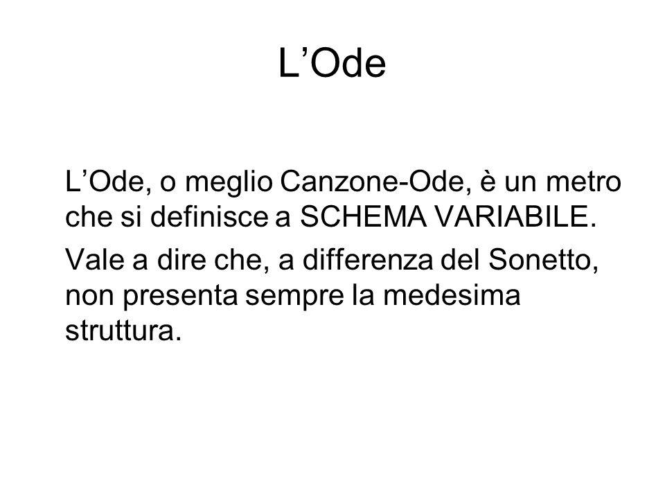 L'Ode L'Ode, o meglio Canzone-Ode, è un metro che si definisce a SCHEMA VARIABILE.