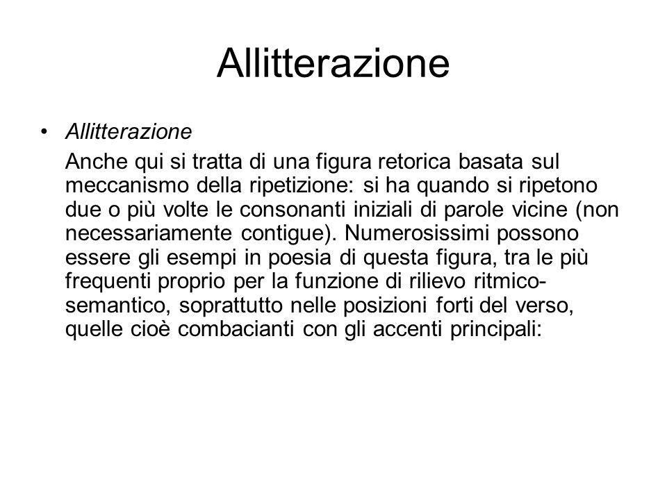 Allitterazione Allitterazione