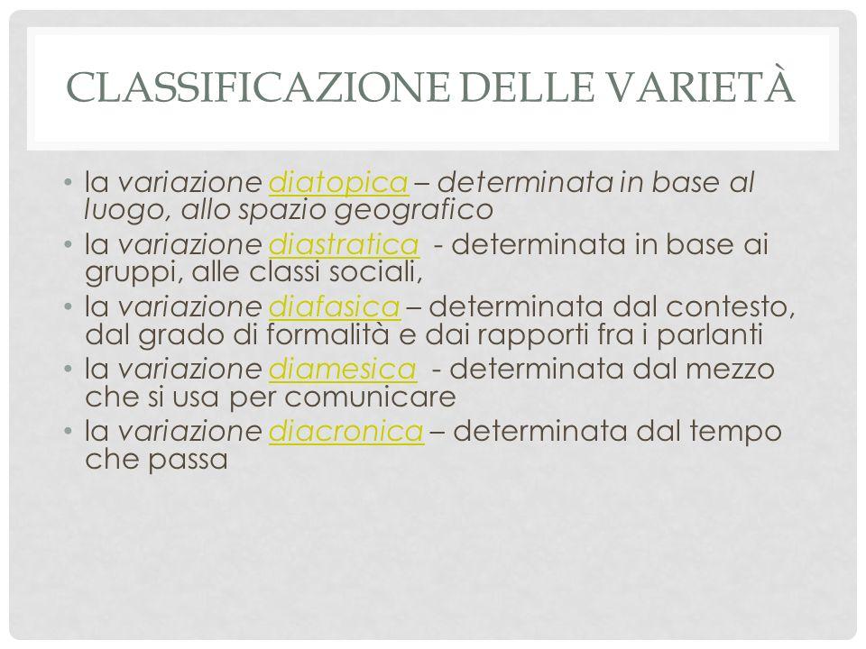 Classificazione delle varietà