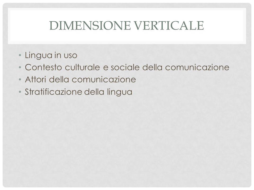 Dimensione verticale Lingua in uso