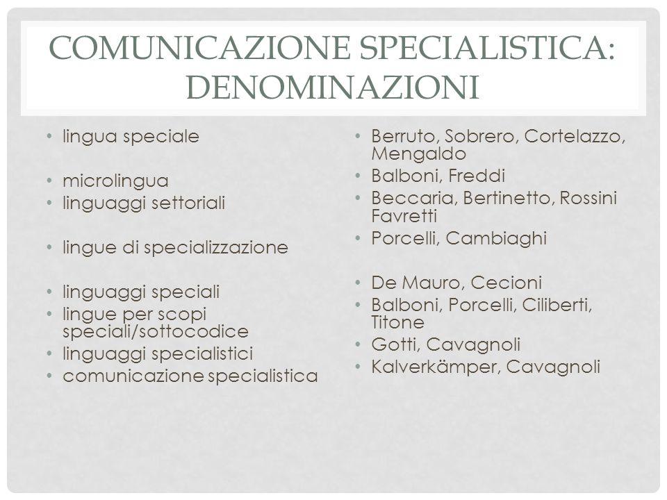 Comunicazione specialistica: denominazioni